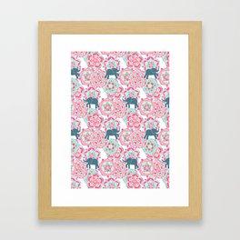Tiny Elephants in Fields of Flowers Framed Art Print