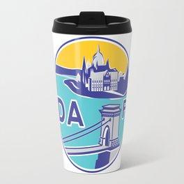 Budapest, Chain Bridge, sticker, blue, yellow Travel Mug