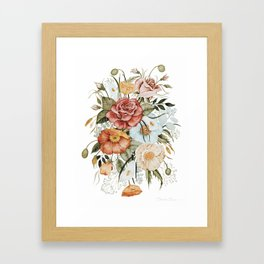 Roses and Poppies Framed Art Print