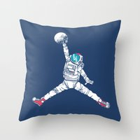 king Throw Pillows featuring Space dunk by Steven Toang