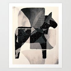 Dala horse in b/w Art Print