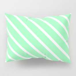Mint Diagonal Stripes Pillow Sham