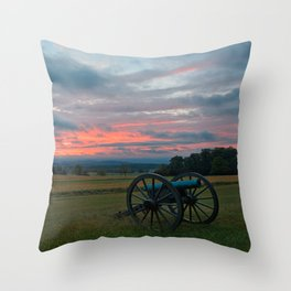 Gettysburg Cannon Sunset Throw Pillow