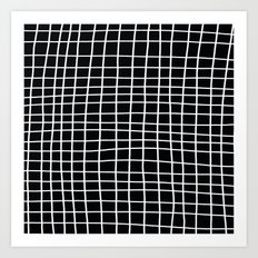 Handdawn Grid Black Art Print