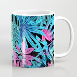 Tropical Leaves Floral Pattern Blue and Pink Coffee Mug