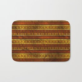 African Ethnic Tribal Pattern in golds and brown Bath Mat