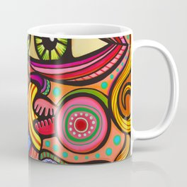 Abstract Folk Art People Painting Coffee Mug