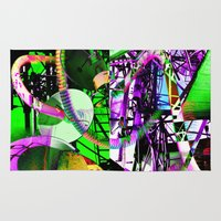 depression Area & Throw Rugs featuring The Decant Dance of a Main Stream Depression by JaComics