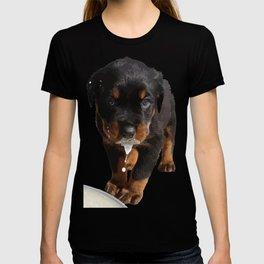 Cute Rottweiler Puppy Lapping Milk Vector T-shirt