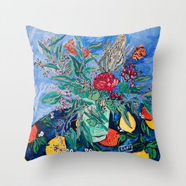Australian Wildflower Bouquet with Citrus Print Still Life Painting Throw Pillow