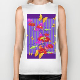 GOLDEN BUTTERFLIES &  RED FLOWER GARDEN Biker Tank