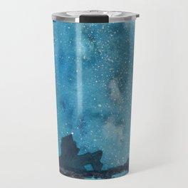 """Reflections Galaxy"" blue watercolor landscape painting Travel Mug"