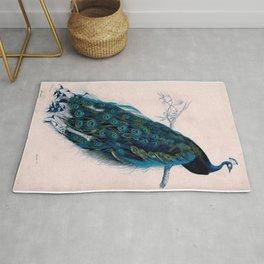 Vintage peacock bird print colorful feathers 1800s antique art nouveau deco nature book plate Rug