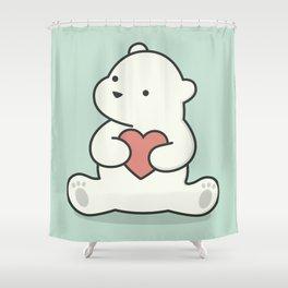 Kawaii Cute Polar Bear With Heart Shower Curtain