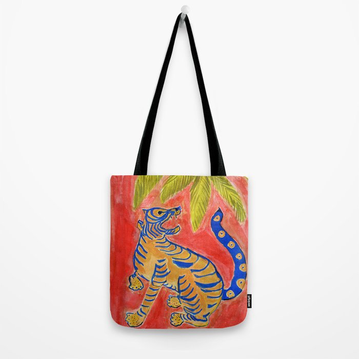 Tiger under palm Tote Bag