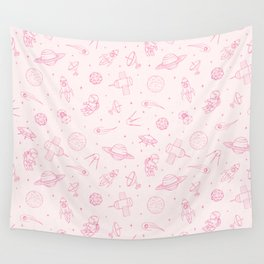 Pink Space Pattern Wall Tapestry