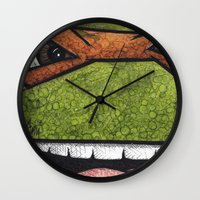 teenage mutant ninja turtles Wall Clocks featuring Michaelangelo (Teenage Mutant Ninja Turtles) by chris panila