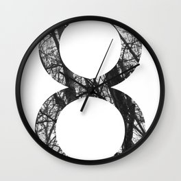 Minimal Number Eight Print With Photography Background Wall Clock