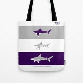 The whitetip, the blacktip and the silvertip - oceanic shark identification Tote Bag