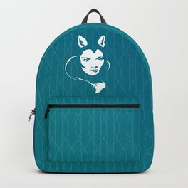 Faces - foxy lady Marlene on a teal wavey background Backpack
