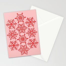 Snowflakes Pattern - Pastel Pink and Red Stationery Cards