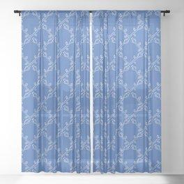 Stylized Flower Trellis Seamless Pattern Sheer Curtain