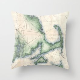 Vintage map of the Massachusetts Coastline Throw Pillow