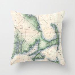 Vintage map of the Massachusetts Coastline Throw Pillow