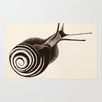 snail Area & Throw Rugs featuring  Snail. by Assiyam