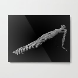 0157-DJA Zebra Striped Nude Yoga Plank Pose Elegant Long Legs Metal Print