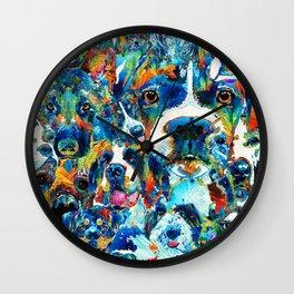 Dog Lovers Delight - Sharon Cummings Wall Clock