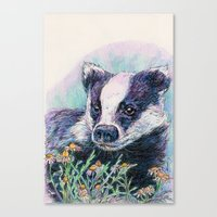 badger Canvas Prints featuring Badger by Sarah Jane Bradley