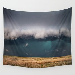 Small - Large Storm Towering Over Windmill in Texas Wall Tapestry
