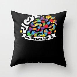 Neurodivergent Funny Autism Brain Design Throw Pillow
