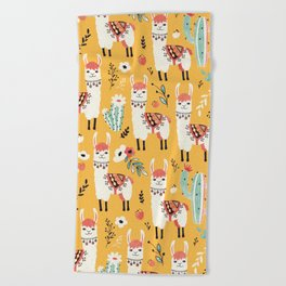 White Llama with flowers Beach Towel