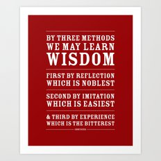 Three Ways to Wisdom • Red Art Print