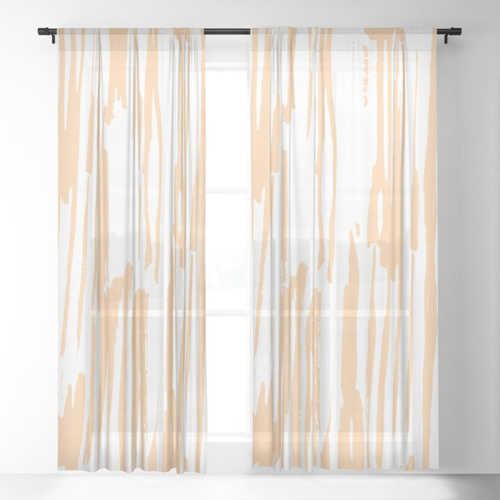 Modern Coral Stripes IV Sheer Curtain