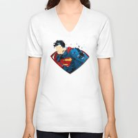 man of steel V-neck T-shirts featuring Man of Steel by ALmighty1080