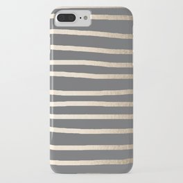 Simply Drawn Stripes White Gold Sands on Storm Gray iPhone Case