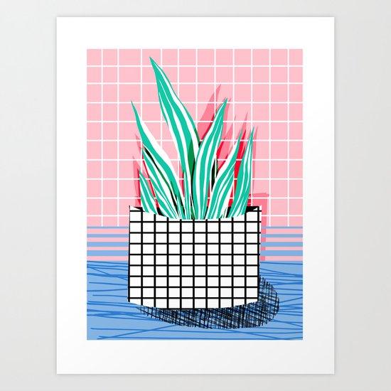 Glam - pop art memphis neon house plants throwback retro 80s style cool brooklyn style minimalism Art Print