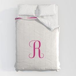 Monogram Letter R in Raspberry Pink Comforters