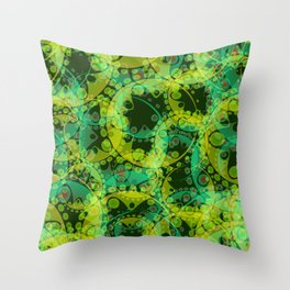 Spring pastels gently pearl and lemon circles and green ellipses with the image of abstract flowers Throw Pillow