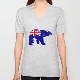 Australian Flag - Polar Bear Unisex V-Neck