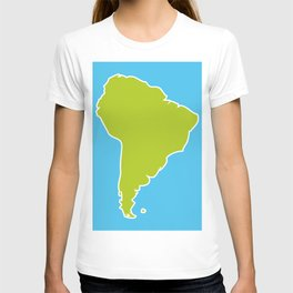South America map blue ocean and green continent. Vector illustration T-shirt