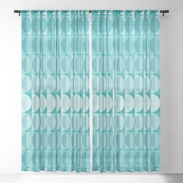 Leaves in the moonlight - a pattern in teal Sheer Curtain