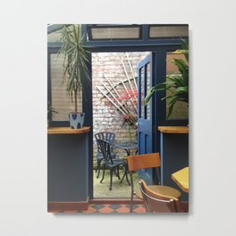 Coffee Shop Garden Metal Print