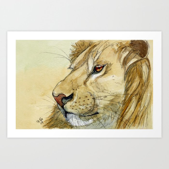 Lion - Tender portrait 539 Art Print