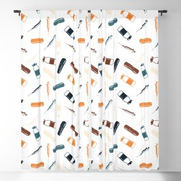 Vintage Vaccines - Large on White Blackout Curtain