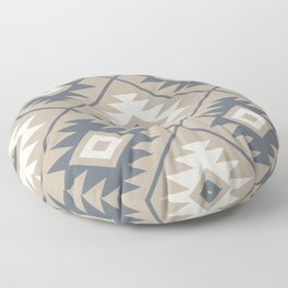 Aztec Symbol Stylized Pattern Blue Cream Sand Floor Pillow
