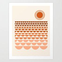 Boogy - retro 70s vibes sunset ocean water desert socal california travel retro minimal Art Print